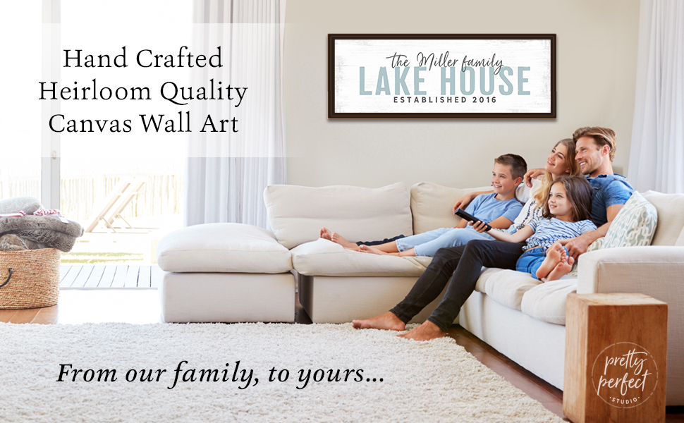Custom lake house sign to personalize canvas wall art for the family lake home
