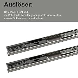 Teleskop-Schienen kugelgelagert 1 Paar Vollausz/üge   LANZZAS/® Schubladenschienen 300 mm mit SoftClosing und Selbsteinzug 2 St/ück