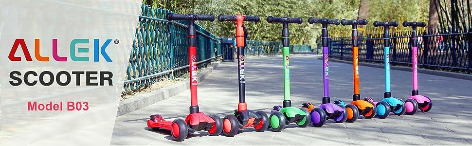 allek logo brand scooter B02 F01 D01 kick push kids lean to turn