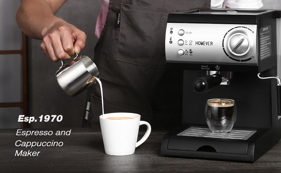 Cafetière Expresso Homever Professionnelle Machines à Café Expresso 1050W avec Pompe 15 bar