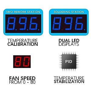 digital display soldering rework station temperature stabilization PID temperature control