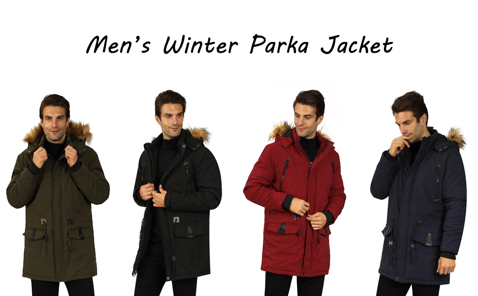 Frieed Men Hooded Zipper Fashion Stand Collar Quilted Warm Long Down Jacket