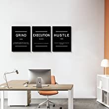 hustle words prints office wall picture canvas wall decor art quotes painting slogan pciture