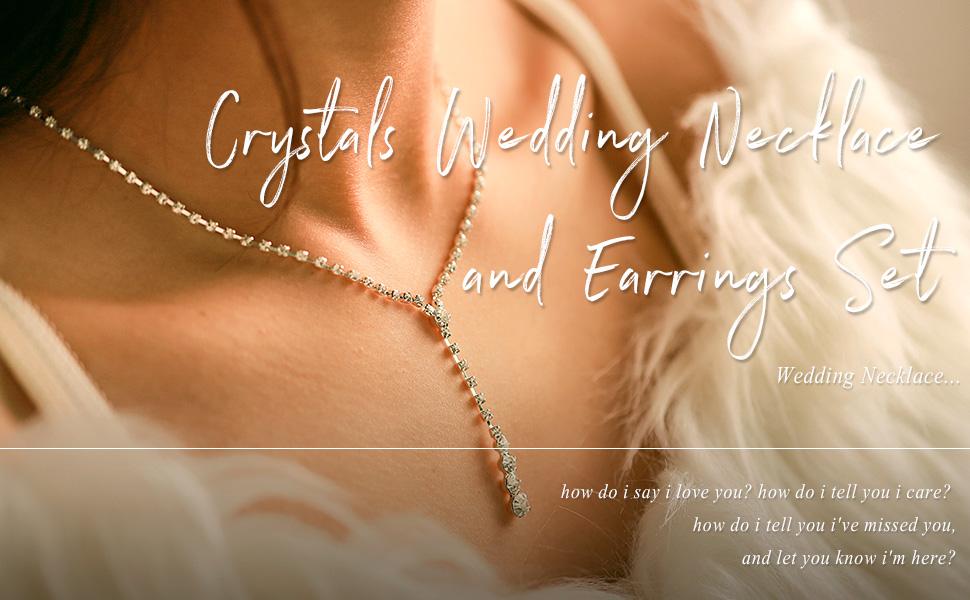 Unicra Bride Silver Bridal Necklace Earrings Crystal Wedding Jewelry Set Rhinestone Choker Necklace
