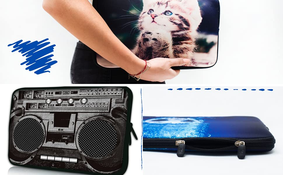 Funny Laptop Sleeve Animal Tiger Graphic Laptop Storage Bag Dust-Proof Neoprene Laptop Computer Cover Computer Accessories White 13inch