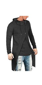 Men's Slim Fit Hoodie Lightweight Hooded Casual Hip Hop Cloak Sweatshirt