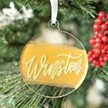 """Amazon.com: UNIQOOO 20 Count DIY Round Acrylic Christmas Ornament 2020 –  4mm Thick Clear Tree Bauble Ornament, Tag, Stocking Name Tags, Place Cards,  Perfect for Wedding & Party Decoration - 2 3/4"""": Kitchen & Dining"""
