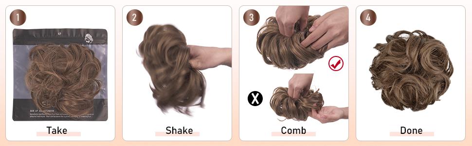 Postiche Chignon Extensions De Cheveux Bouclés Ondulés Chouchou Postiche Queue de Cheval