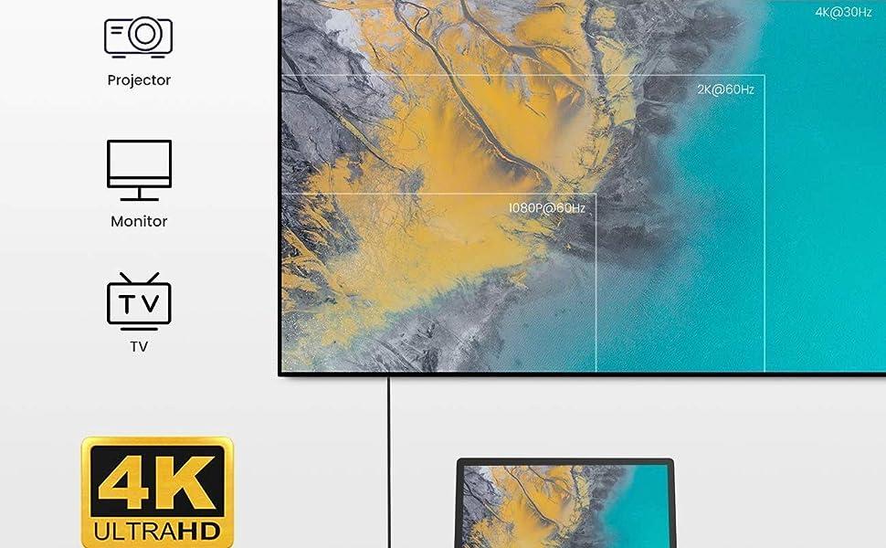USB C Hub Type-C MacBook Air M1 Adapter 4K HDMI microSD/SD Thunderbolt Docking Station Fast Charging
