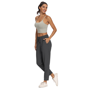 Travel Ankle Drawstring 7/8 Athletic Track Yoga Dress Pants