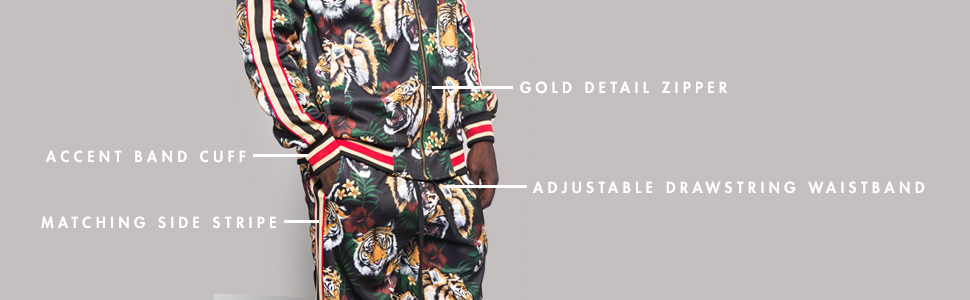 accent band cuff matching side stripe gold zipper adjustable drawstring waistband track suit