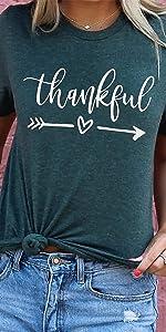 Lailezou Women's Thanksgiving Letter Print T-Shirt Love Graphic T-Shirt Summer Top