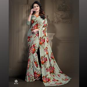Floral Saree Georgette Chiffon Saree