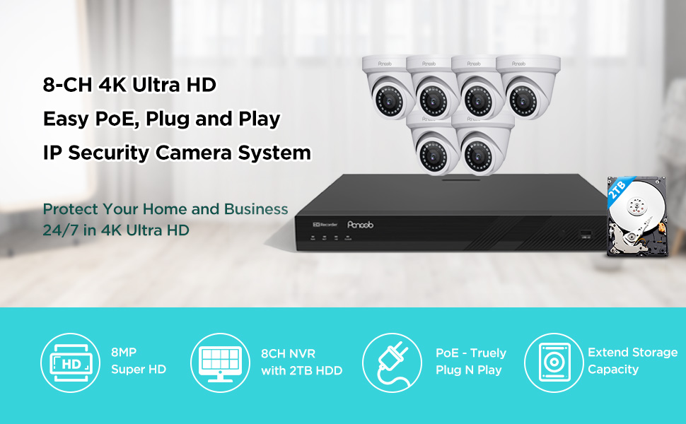 8CH 4K PoE IP Audio Camera System for Home Business