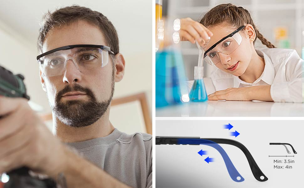 scalable adjustable arms safety goggles