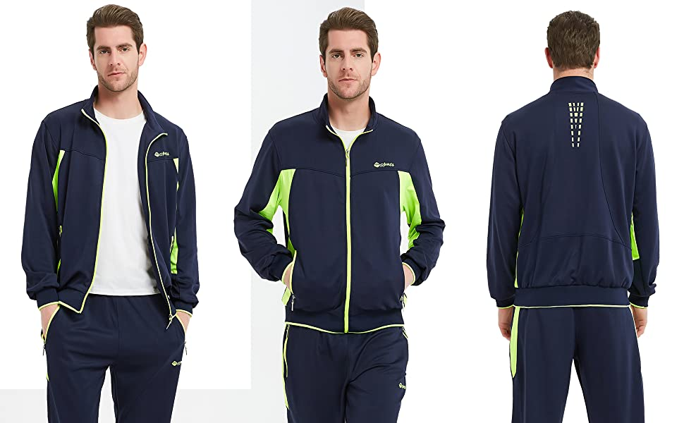 Prime Sport Mens Tracksuit Athletic Full Zip Casual Sports Jogging Gym Sweatsuit