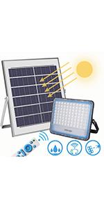 Luz Solar Exterior LED 100W, Focos solar exterior 6000K Blanco IP67 Impermeable Con función de control remoto: Amazon.es: Iluminación