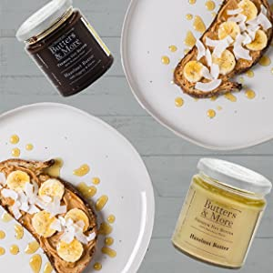 Butters & More spread jam Peanut Butter chocolate spread Hazelnut butter almond cashew coconut