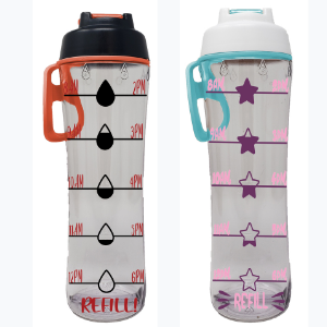 water bottle with time markings hourly markers hydration tracker motivational drink more water daily
