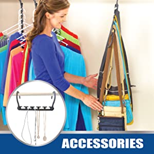 Lady hanging accessories cross body purses bags and jewelry on Wonder Hanger Max. Everything is neat