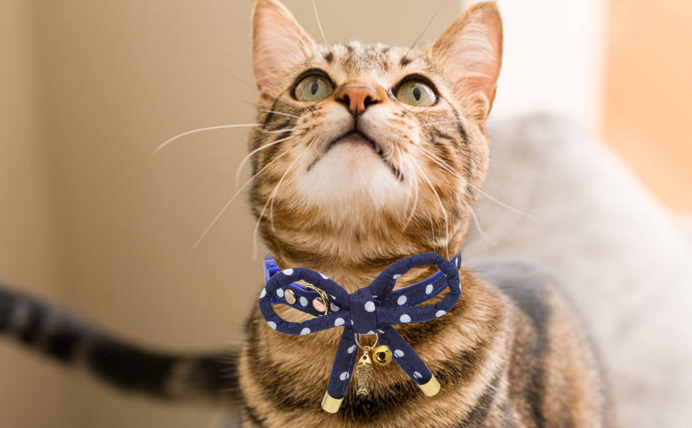 SCENEREAL Cat Bowtie Collar Breakaway 3 Pack Adjustable Safety Pet Collars Bowknot Design with Charming Fish Bone and Bell for Cats Kitten Puppy