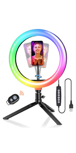 blitzwolf rgb ring light with stand for makeup