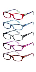 gamma ray optix' womens reading glasses with magnification 5 pack