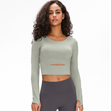 Fornt display of the long sleeve yoga top-1
