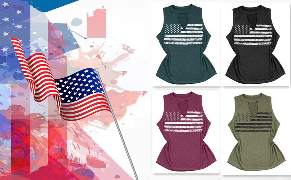 FASHGL Women's 4Th of July Tank Tops Independence Day Top Shirt Summer Sleeveless Shirt