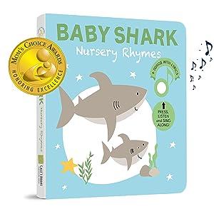 baby shark sound book cover moms choice award badge