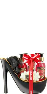 set de beauté fraise coco noir rouge soin du corps cadeau cadeau arc talon haut stiletto