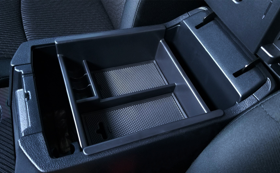 Armrest Box Secondary Storage Fit for 4Runner Richeer Center Console Organizer Tray Compatible with Toyota 4Runner 2010-2020 4Runner Accessories,Insert ABS Black Materials Tray