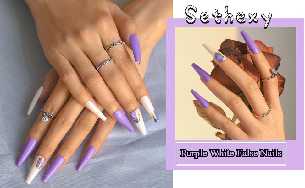 Sethexy Long Purple Ballerina False Nail Bling Glitter Coffin Fake Nails Tips for Women and Girls
