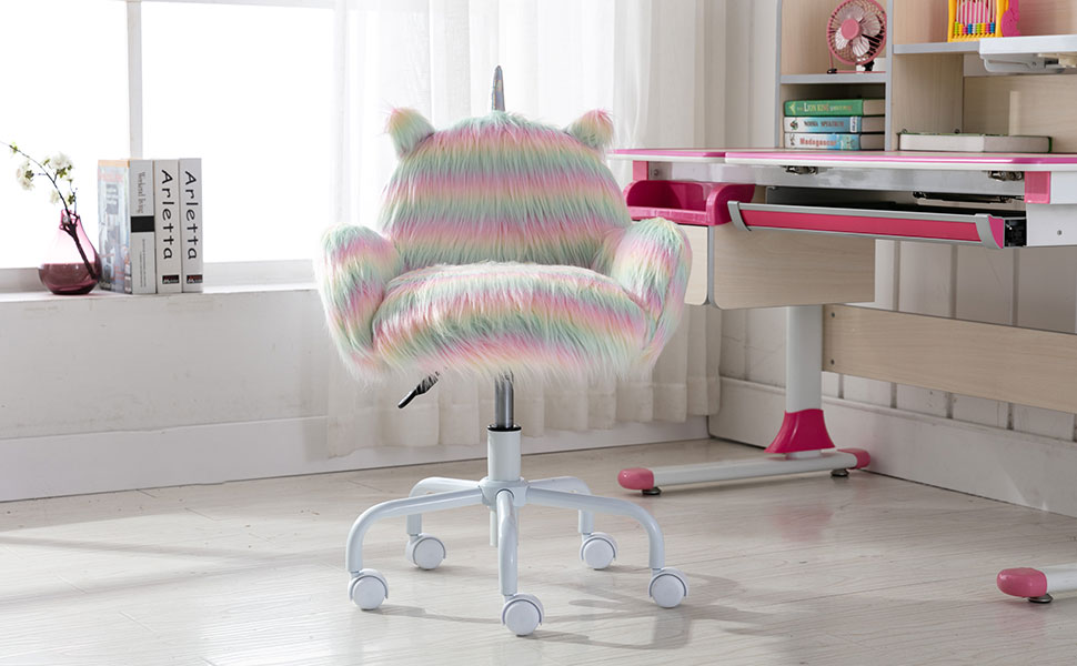 Guyou Faux Fur Kids Desk Chair with Armrest Fuzzy Swivel Children Study Chair Girls and Boys (White)