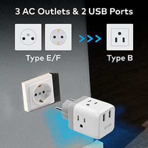 schuko germany franceeuropean travel plug adapter eu power adapter with usb charigng ports
