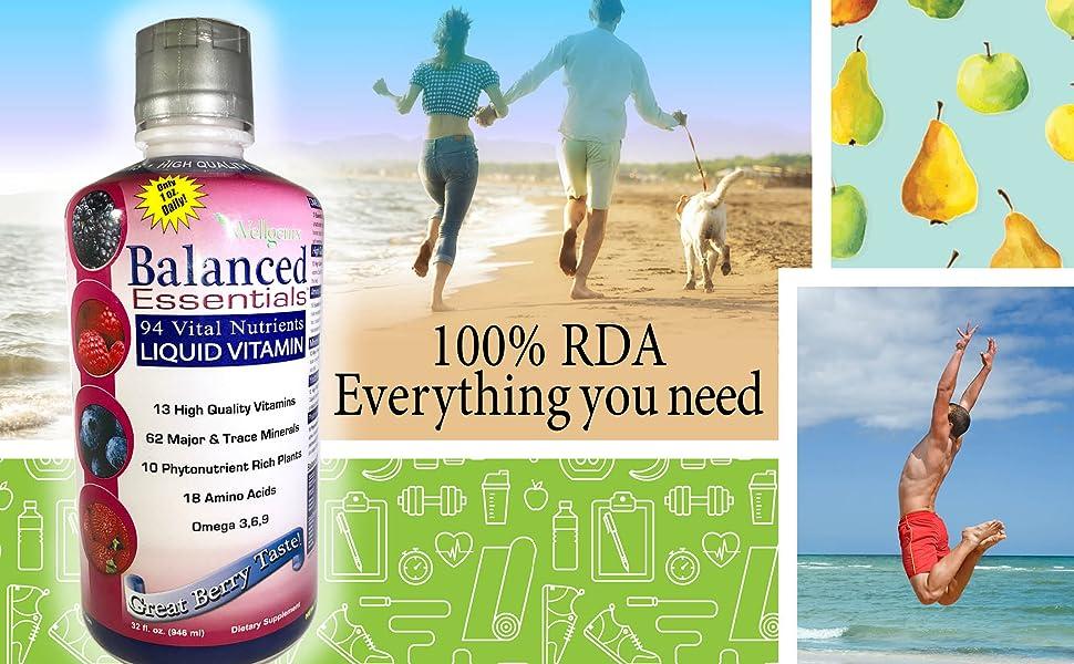 Wellgenix Balanced Essentials Liquid Vitamin High Absorption Nutritional Multivitamin Supplement
