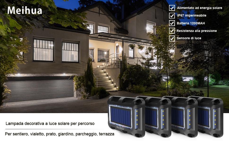 MEIHUA Luci solari da terra 20 LED Luci solari esterne Illuminazione da giardino impermeabile Faretto esterna con sensore luce prato Patio Strada Passerella Quadrato Bianco freddo