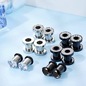 6 Pairs Stainless Steel Ear Gauges CZ Screw Plugs Tunnel Ear Expander Stretcher Piercing