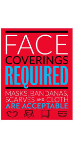 Face Covering Required Decal Face Masks, Bandanas, Scarves, and Cloth Coverings