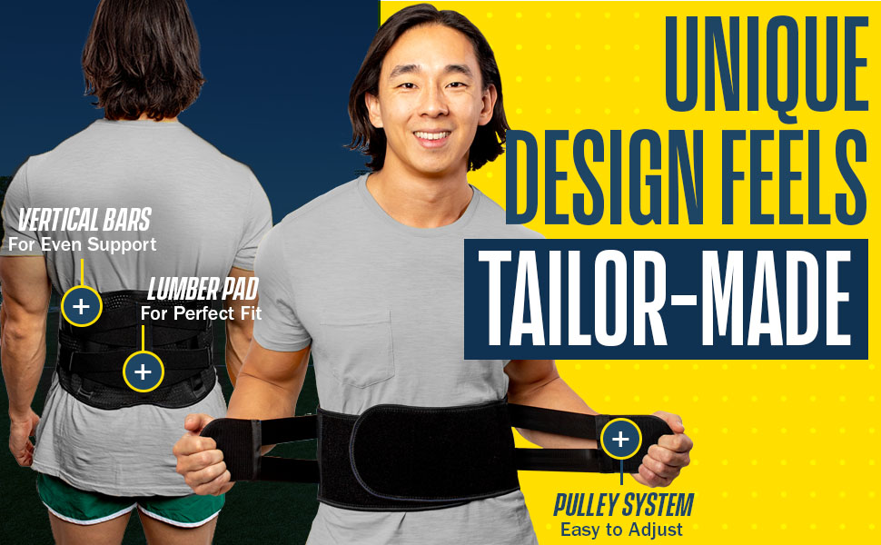 unique design feels tailor-made: easy to adjust pulley system and lumbar pad for perfect fit
