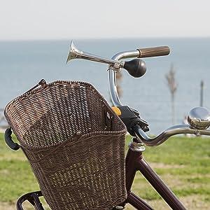 coole Retro-Optik! Klassische Fahrradhupe silbern verchromt