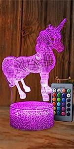 Unicorn LED Night Light Lamp Room Party Decorations Decor Christmas Birthday Xmas Gifts