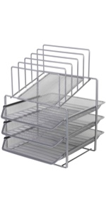 Exerz Desk Organizer 3 Layer Sliding Letter Trays with 5 Dividers - Upright Sections/Paper Sorter