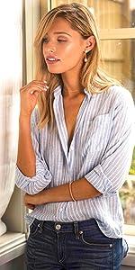 Linen shirt blouse women stripes cotton work casual blouses