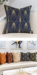 blue and gold line pillow cover