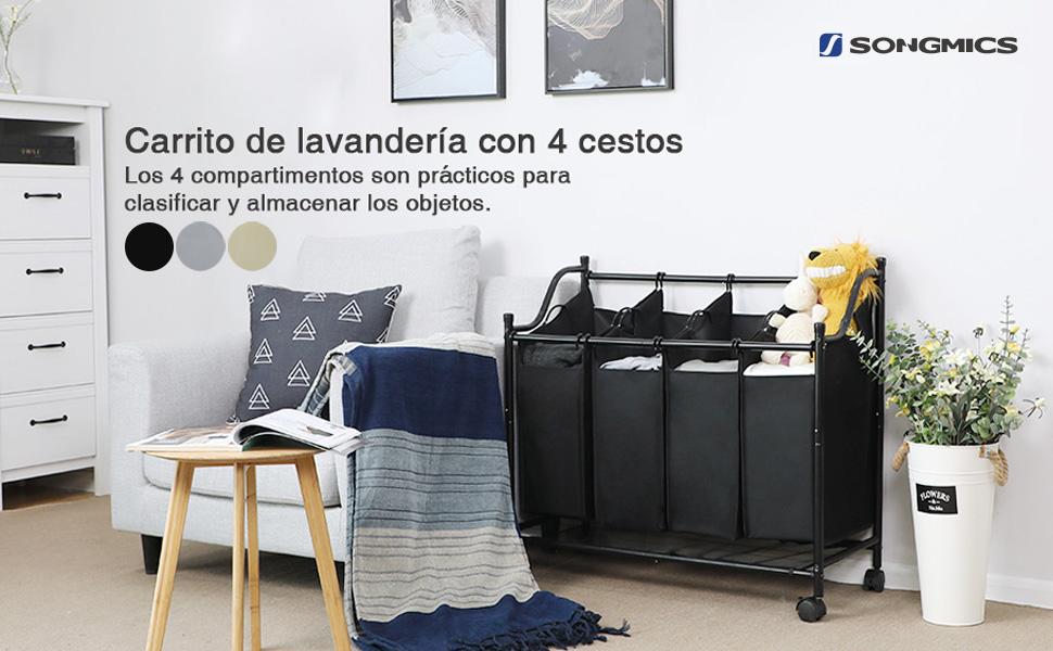 SONGMICS Carrito de LavanderÍa, Cesta de lavanderÍa, Colector de ...