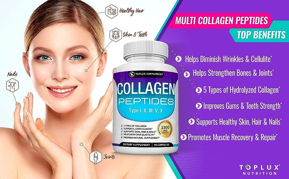 collagen peptides toplux supplement multi complex 5 types