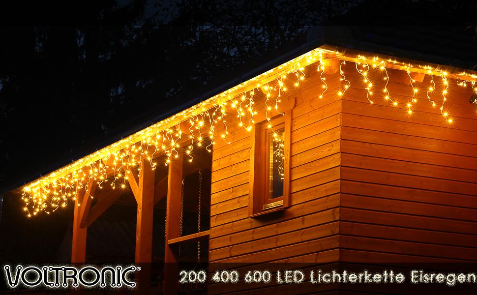 LED AUSSEN-Lichtervorhang  LED-Eisregenlichterkette 288 LED 7m