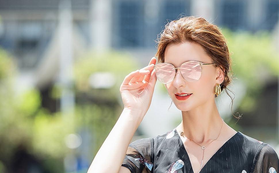 Sunglasses for Women Oversized Mirrored Cateye