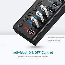 usb hub with individual switch